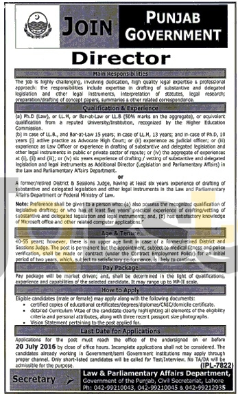 Join Law & Parliamentary Affairs Department Punjab 2016 Current Vacant Situations
