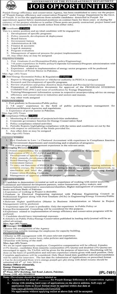 Energy Department Punjab Jobs 2016 For Coordinator Online Application Form