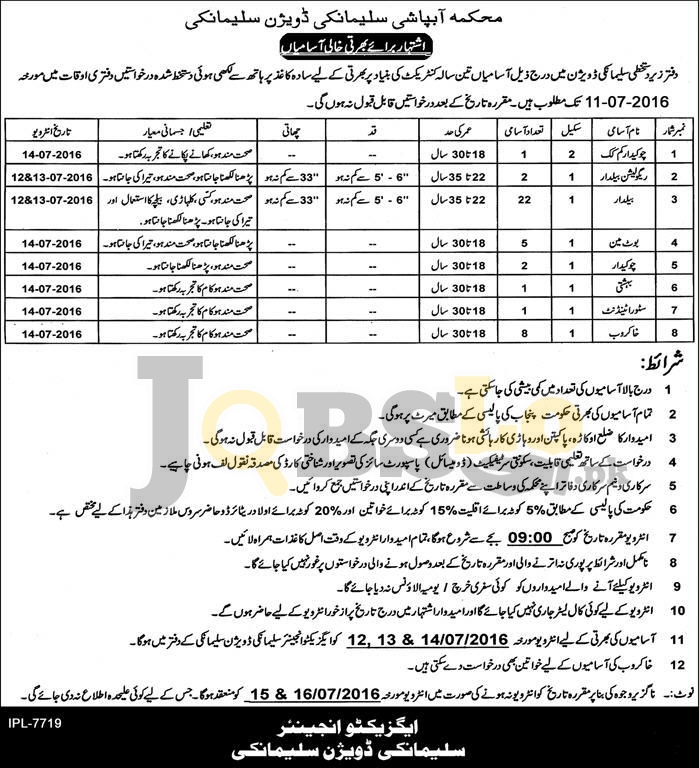Irrigation Department Jobs 2016 in Sulemanki Division for Cook Baildar Boatman