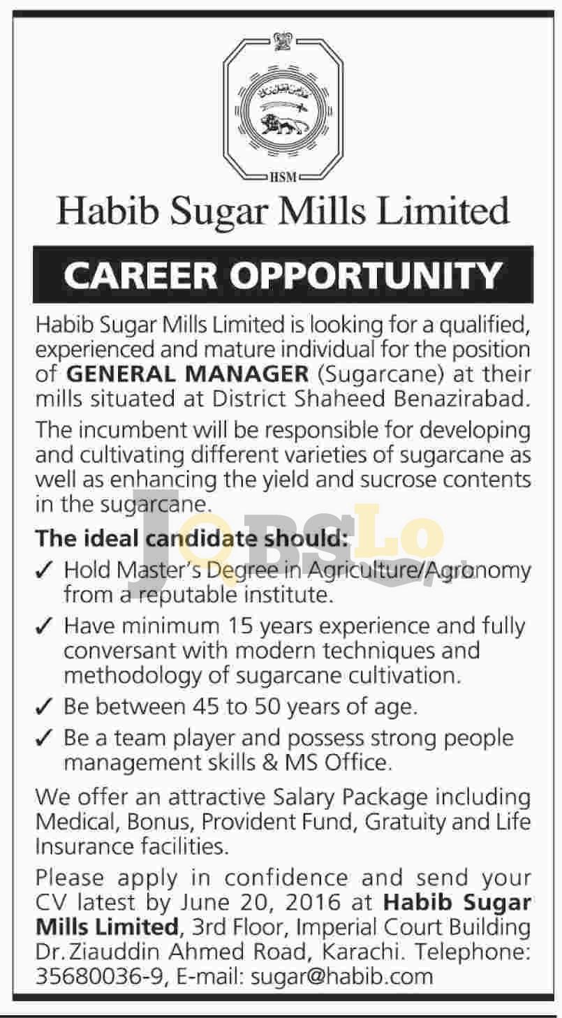 Habib Sugar Mills Jobs