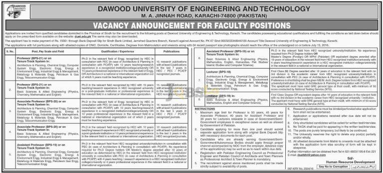 DUET Karachi Jobs 2016 For Professor Associate Professor Application Form Download Online