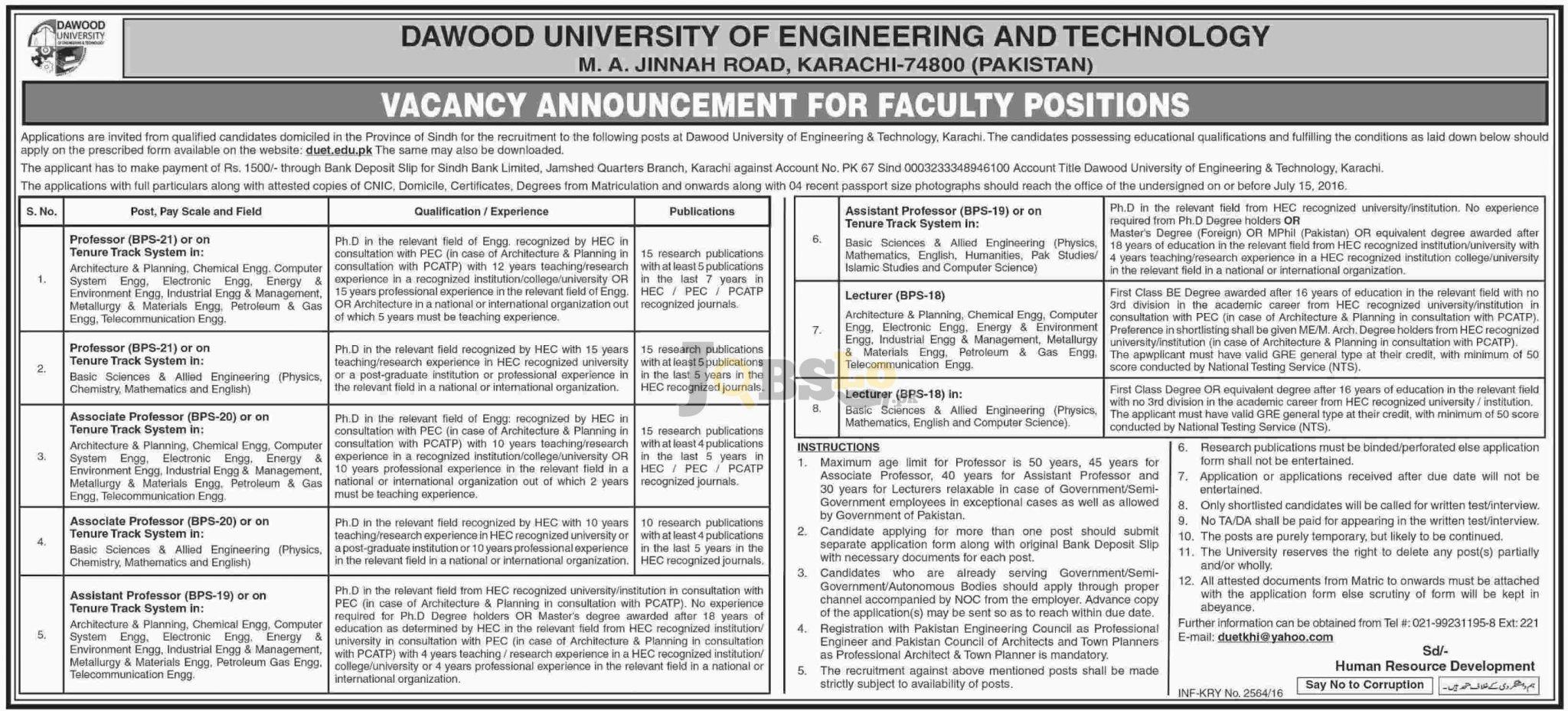 Dawood University jobs