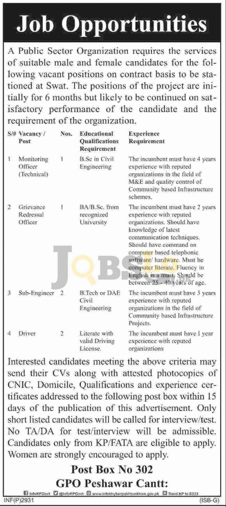 KPK Public Sector Organization Jobs 2016 For Monitoring Officer (Technical)