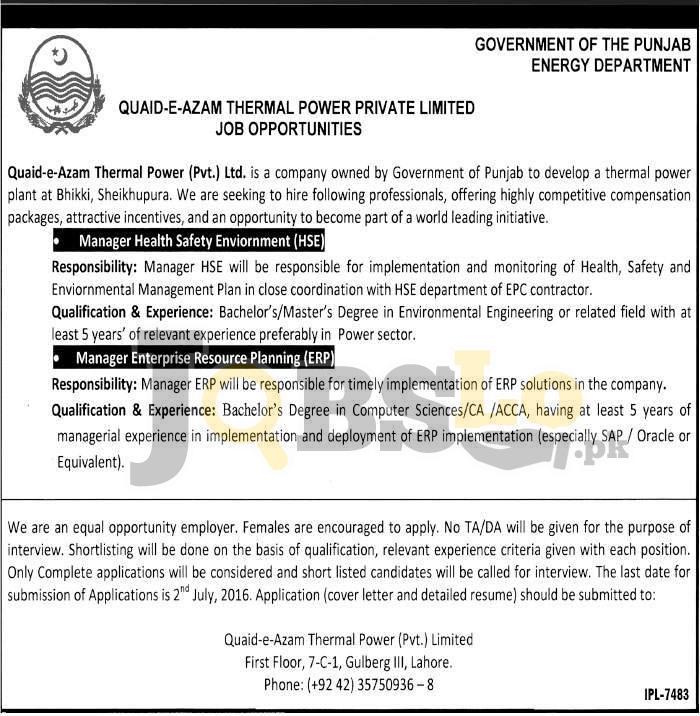Quaid-e-Azam Thermal Power Punjab Jobs 2016 For Managers Eligibility Criteria