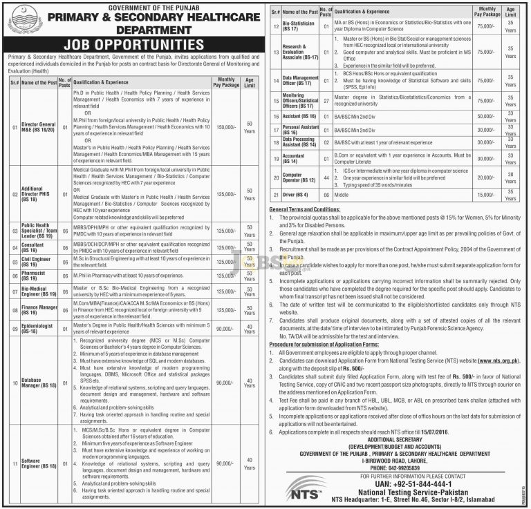 Primary & Secondary Healthcare Department Jobs 2016 in Punjab NTS Sample Paper & Roll Number Slip