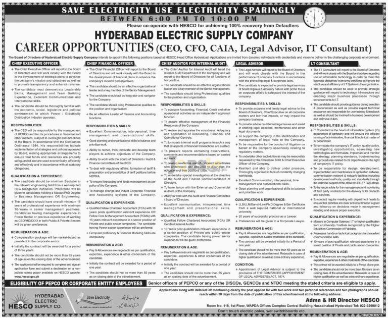 HESCO Hyderabad Electric Supply Company Jobs 2016 Advertisement Latest