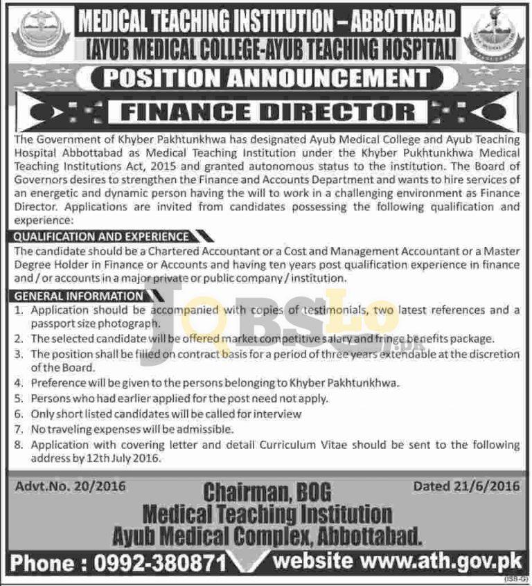 Ayub Medical Teaching Hospital Jobs 2016 in Abbottabad Advertisement Latest