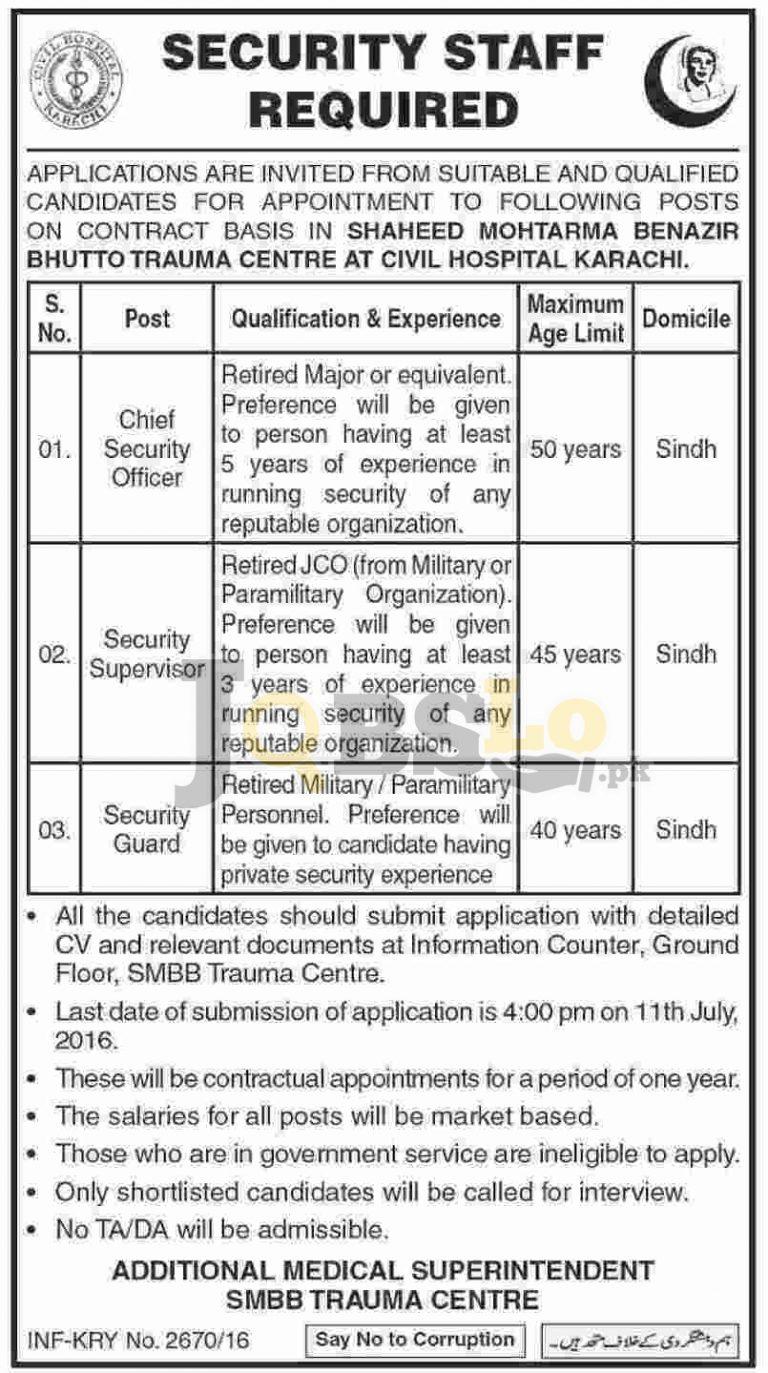 SMBB Trauma Centre Karachi Jobs 2016 Civil Hospital Current Vacancies