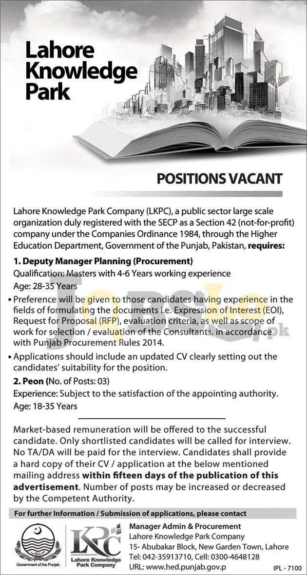 Lahore Knowledge Park Jobs June 2016 Advertisement Latest