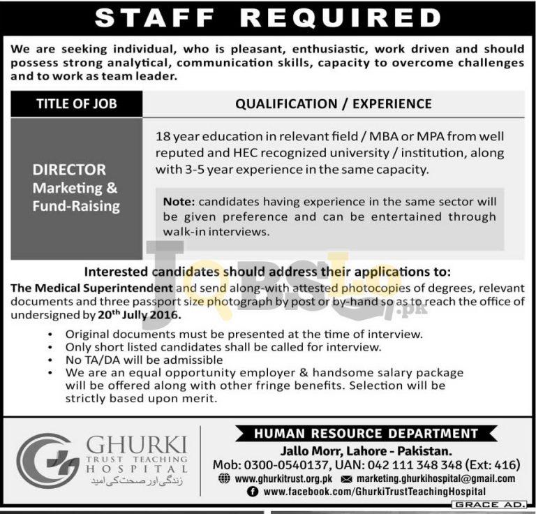 Ghurki Trust Teaching Hospital Jobs 2016 in Lahore Current Vacancies