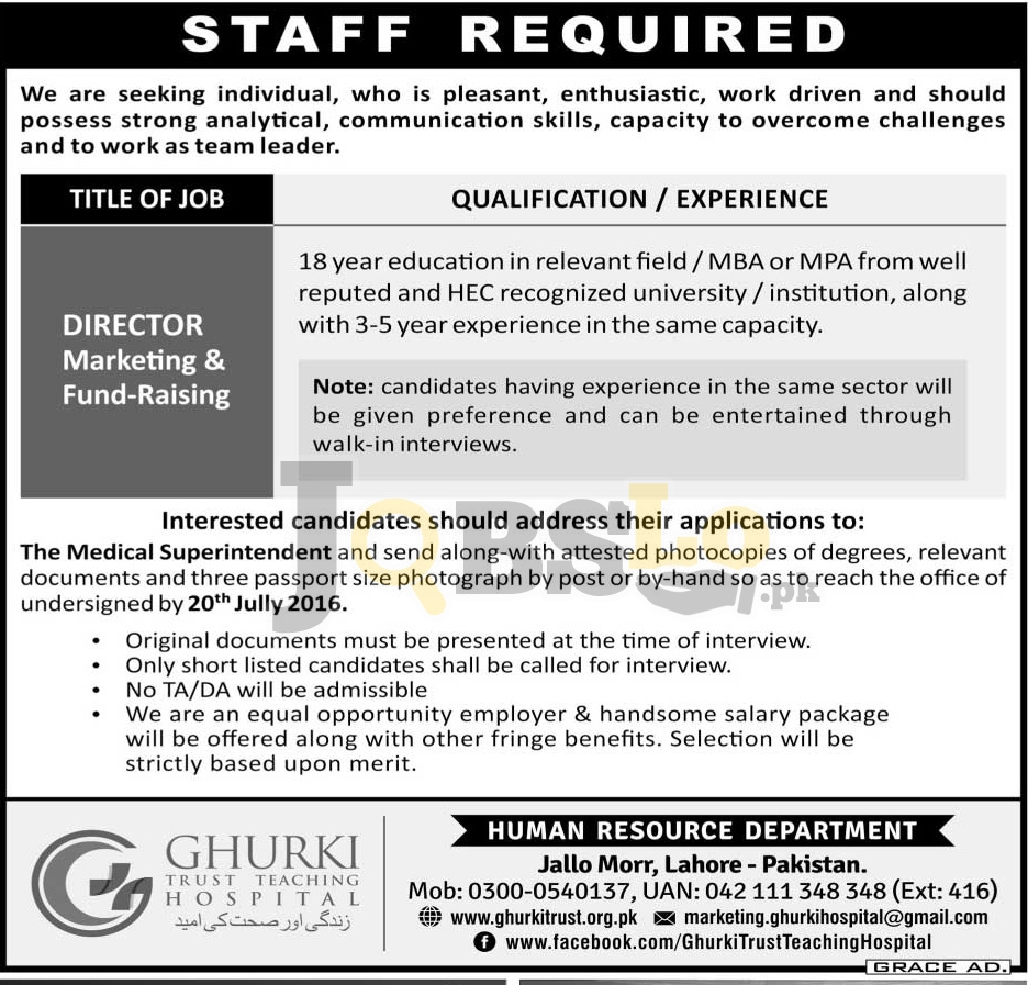 Ghurki Trust Teaching Hospital Jobs