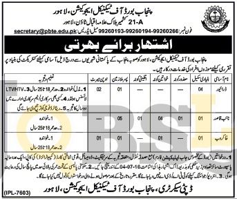 PBTE Punjab Board of Technical Education Lahore Jobs 2016 Current Vacancies