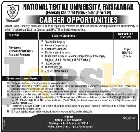 National Textile University Faisalabad Jobs 2016 For Teaching Staff