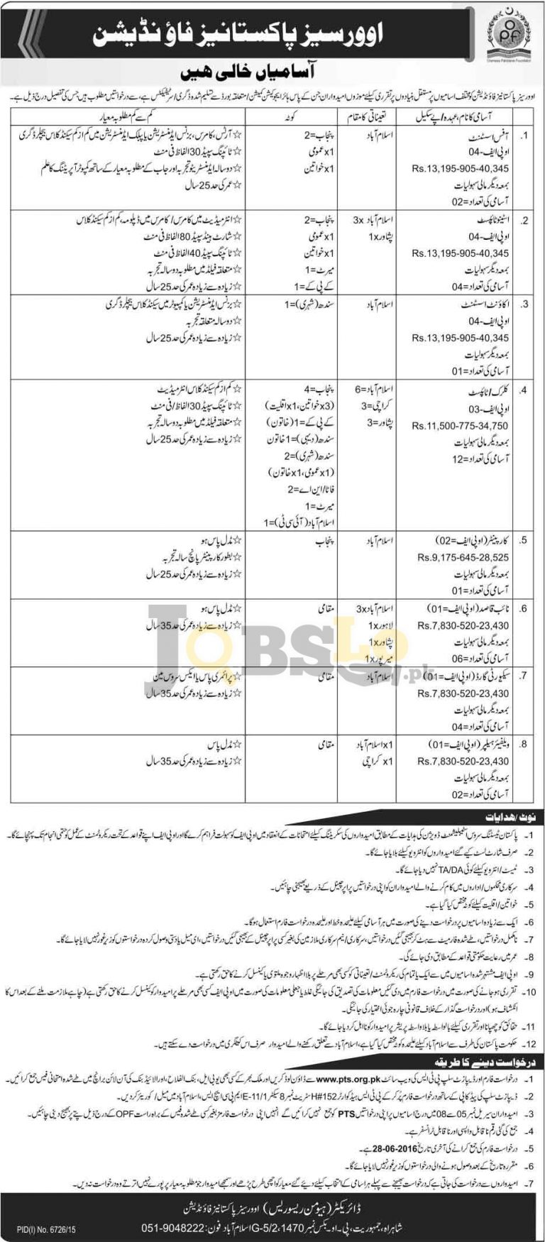 Overseas Pakistanis Foundation OPF Jobs 2016 PTS Test & Roll Number Slip Download