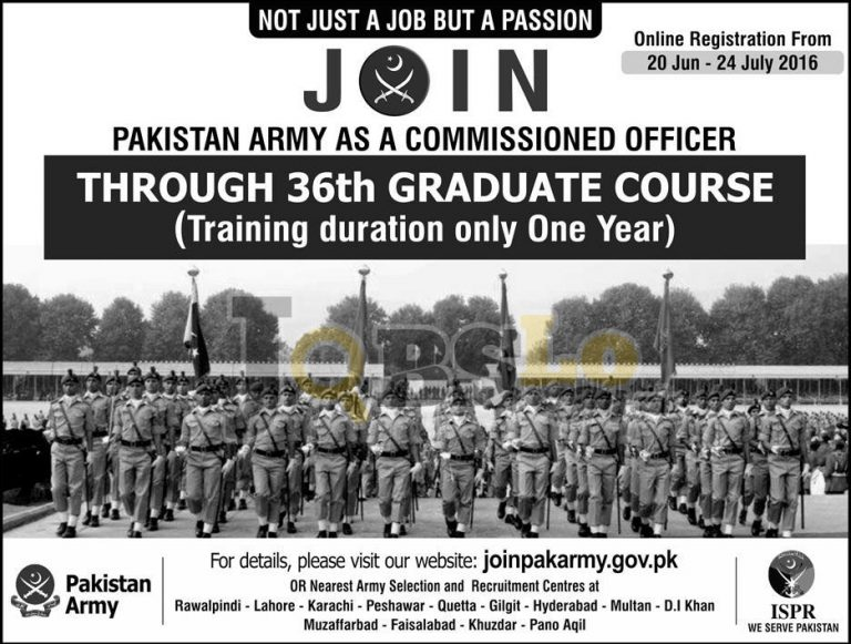Join Pakistan Army 2016 as Commissioned Officer Latest Add Online Registration