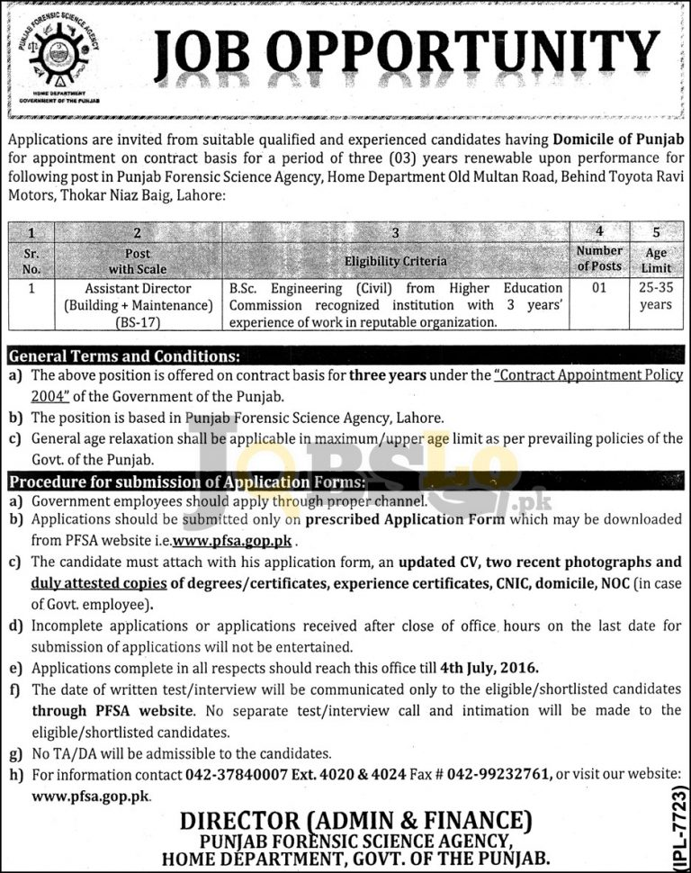 Punjab Forensic Science Agency Jobs 2016 in Lahore Application Form Download Online