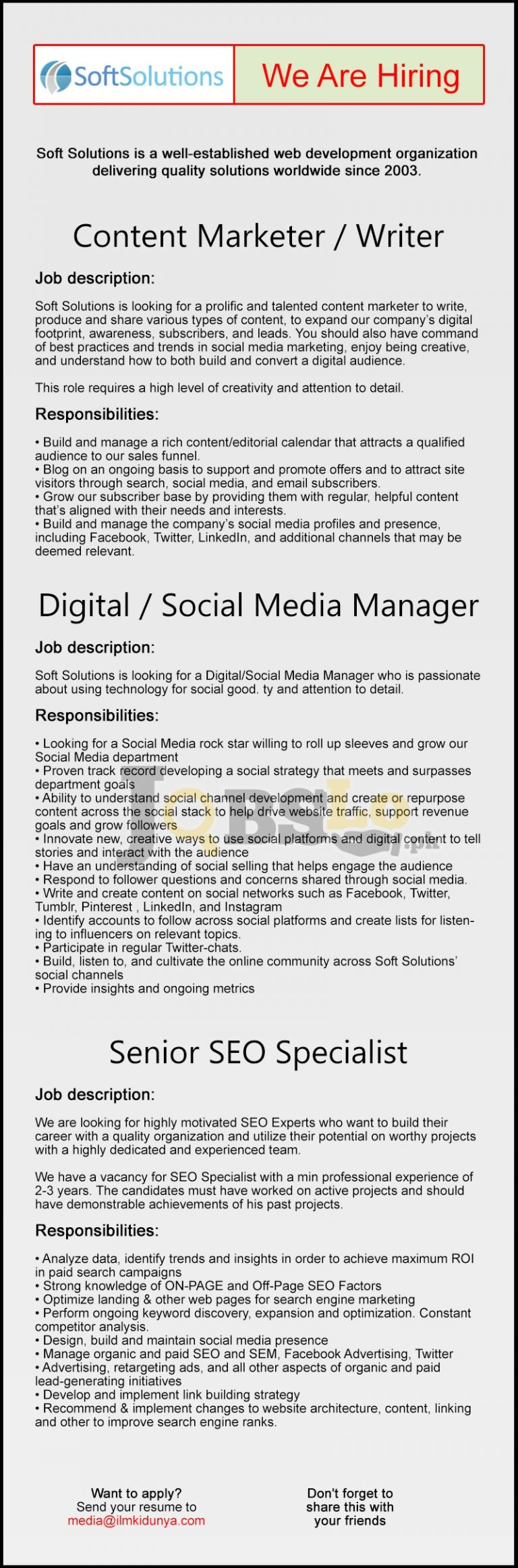 Soft Solution Organization Jobs 2016 For Content Marketer / Writer Apply Online Last Date