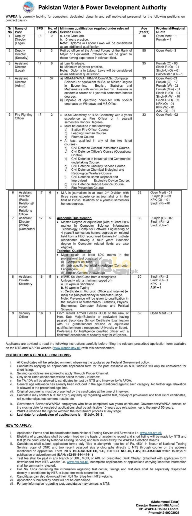 WAPDA Jobs 2016 For Deputy Director Latest NTS Online Application Form www.nts.org.pk
