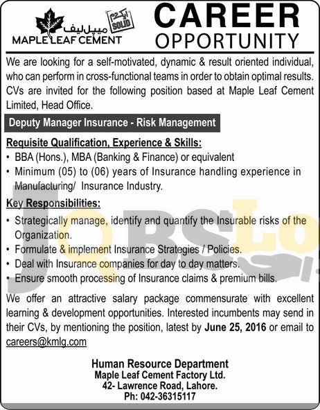 Maple Leaf Cement Jobs 2016 Lahore For Deputy Manager Insurance Latest Add