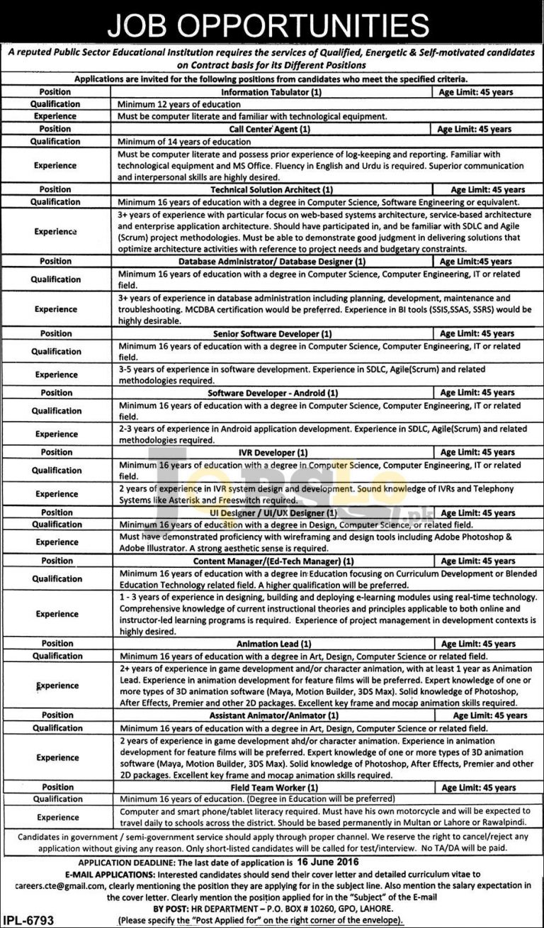 Public Sector Organization Jobs 2016 in Lahore Latest Vacant Situations