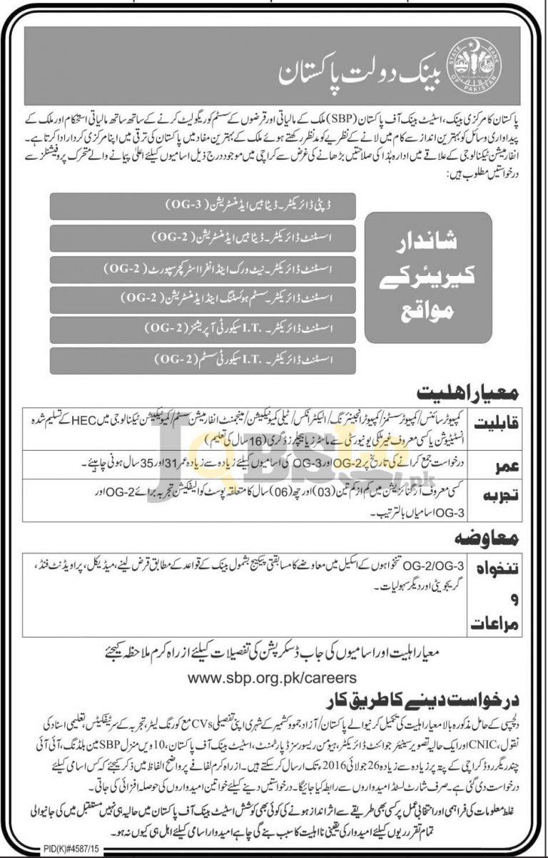 State Bank of Pakistan Karachi Jobs 2016 For Director Assistant Director Latest Vacancies
