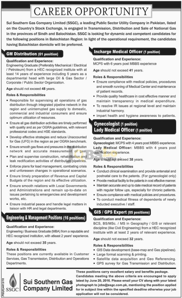 SSGC Jobs 2016 in Balochistan for GM Distribution Medical Officer Eligibility Criteria
