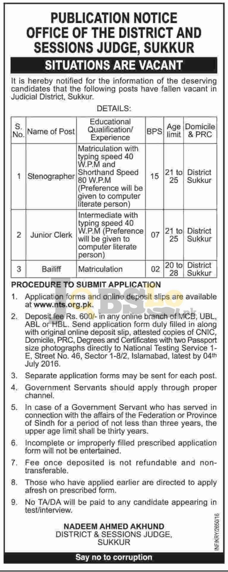 District & Session Court Jobs 2016 in Sukkur NTS Online Test & Roll Number Slip Download