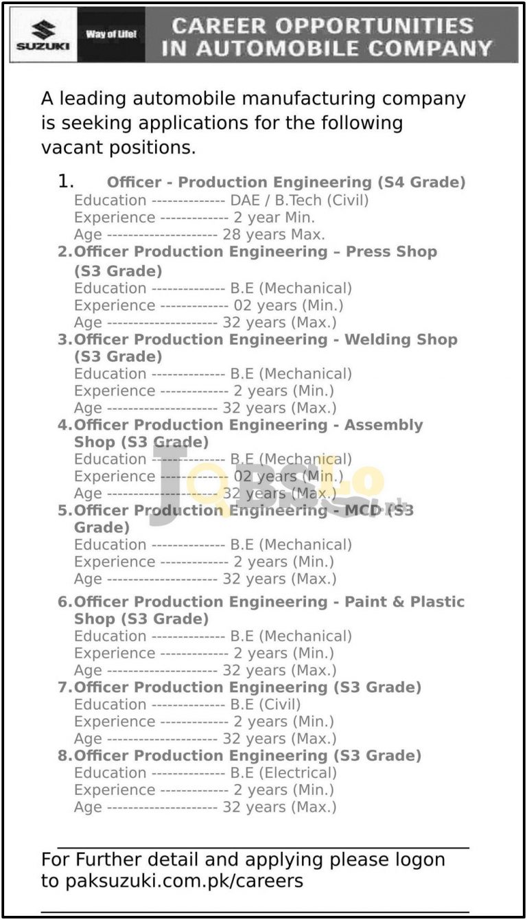 Pak Suzuki Motors Jobs June 2016 in Pakistan Apply Online Last Date