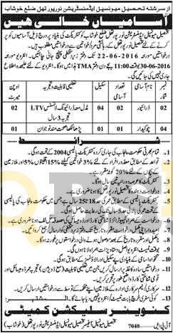 TMA Noor Pur Thal Jobs 2016 For Driver & Chowkidar Eligibility Criteria