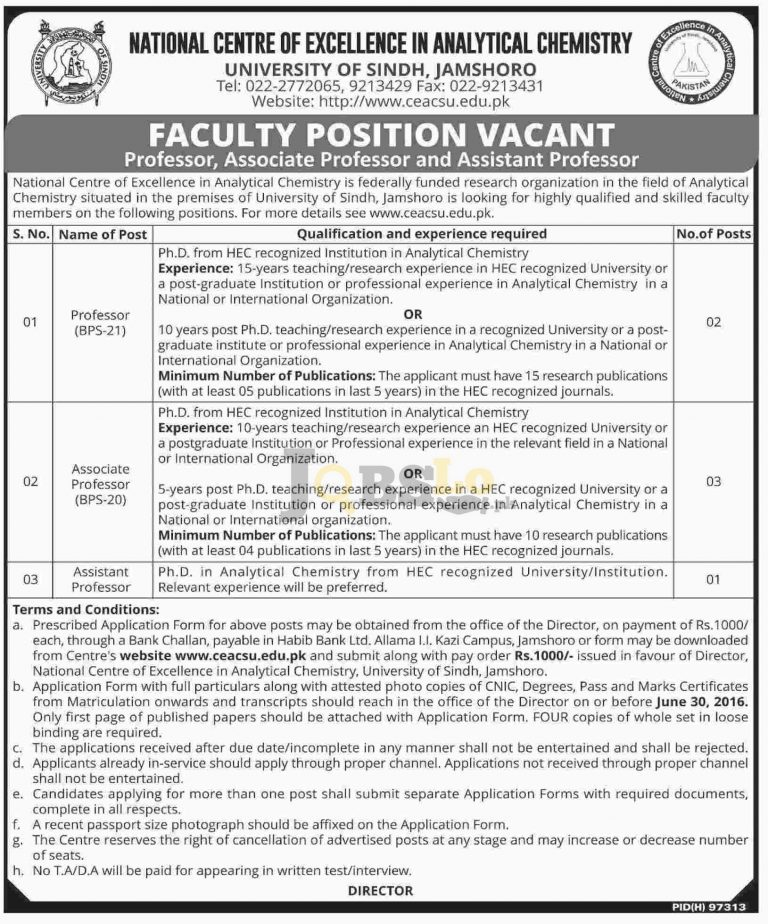 University of Sindh Jamshoro 2016 National Centre of Excellence in Analytical Chemistry Latest Add