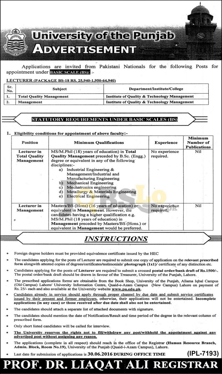 University of Punjab Jobs 2016 For Lecturers Application Form Download Online