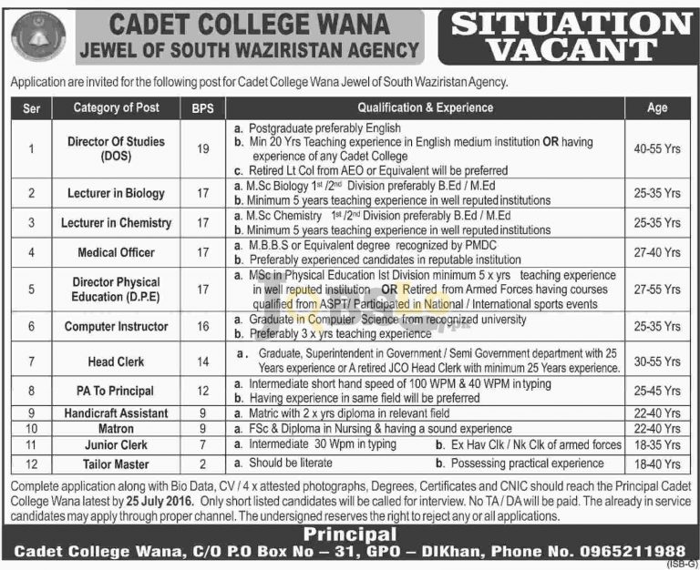 Cadet College Jobs 2016 in Wana For Director Lecturer & Medical Officer Career Offers