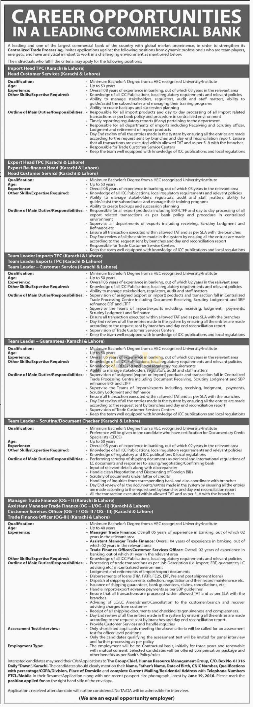 Commercial Bank Karachi & Lahore Jobs 2016 For Import Head TPC Eligibility Criteria