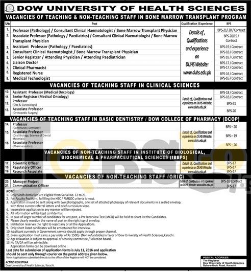 Dow University of Health Sciences Jobs 2016 in Karachi Latest Advertisement