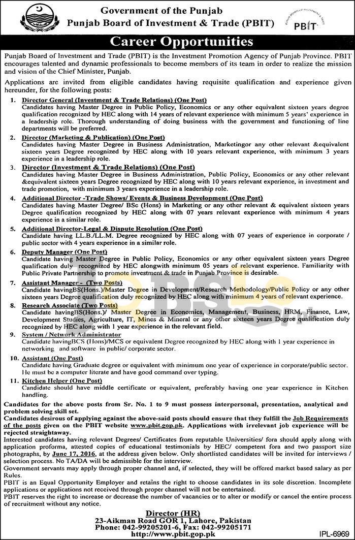 PBIT Jobs June 2016 For Director General Online Application Form