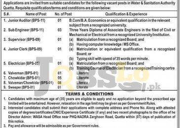 WASA Quetta Jobs 22 June 2016 Latest Employment Offers