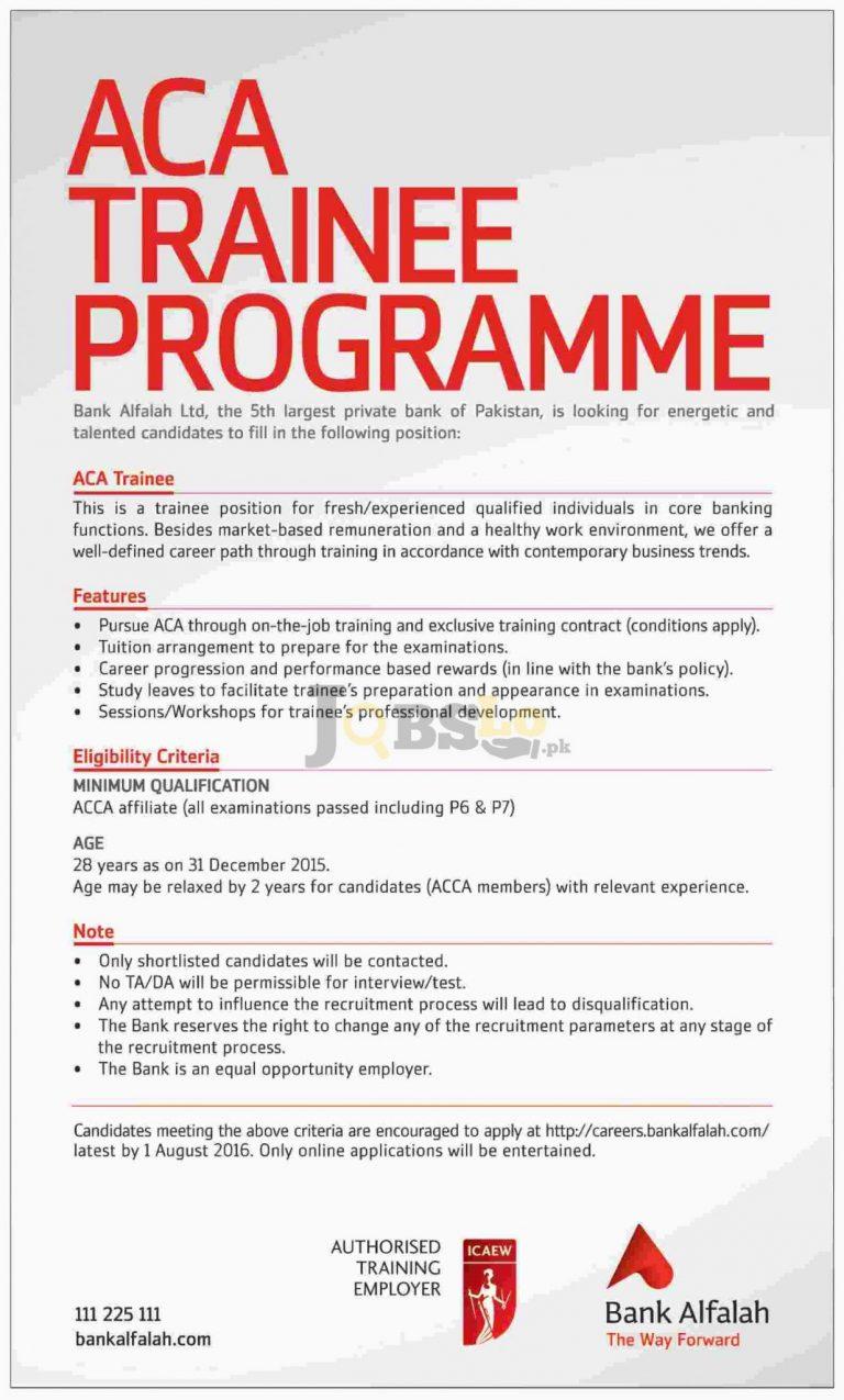 Bank Alfalah Jobs 2016 for ACA Trainee Eligibility Criteria