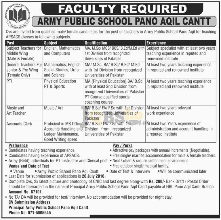 APS Pano Aqil Army Public School Jobs 2016 For Subject Teachers Eligibility Criteria