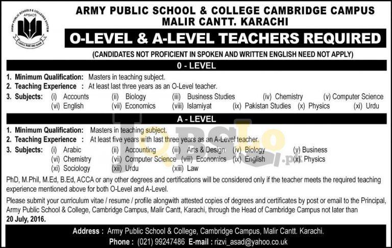 APS & C Karachi Cambridge Campus  Jobs 2016 For O & A Level Teachers Required Latest Add