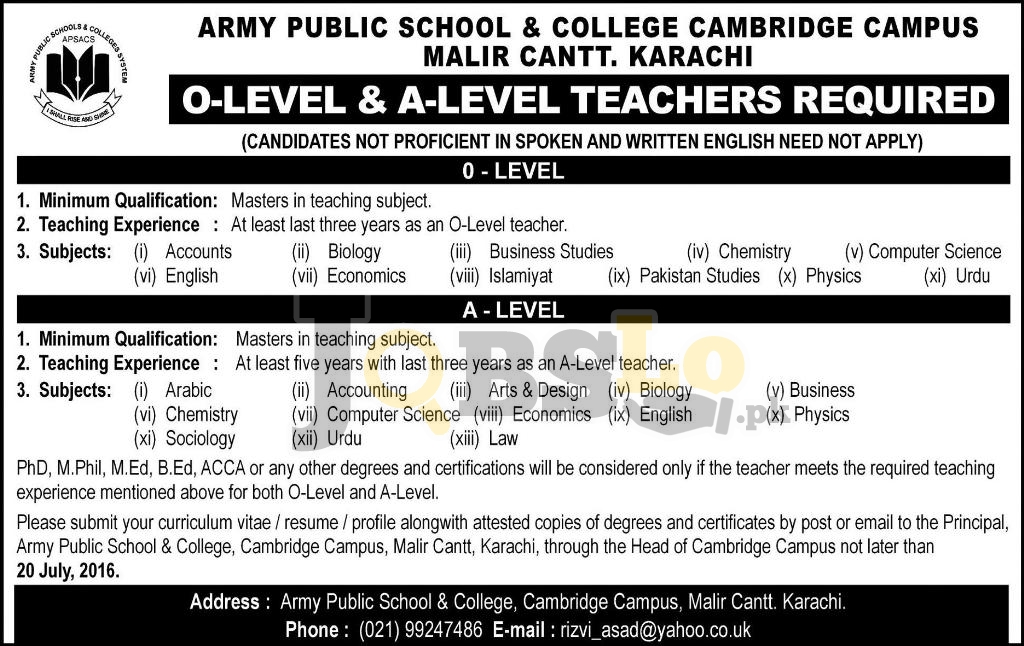 APS & C Karachi Cambridge Campus  Jobs