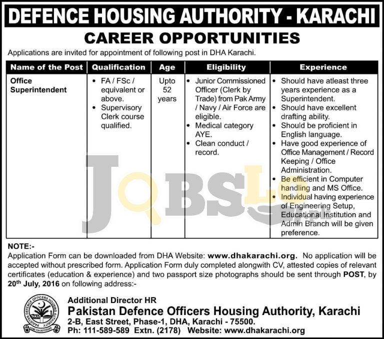 Defence Housing Authority Karachi Jobs 2016 Online Form www.dhakarachi.org
