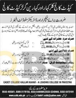 Lecturer Jobs 2016 in Cadet College Kallar Kahar Latest Vacancies