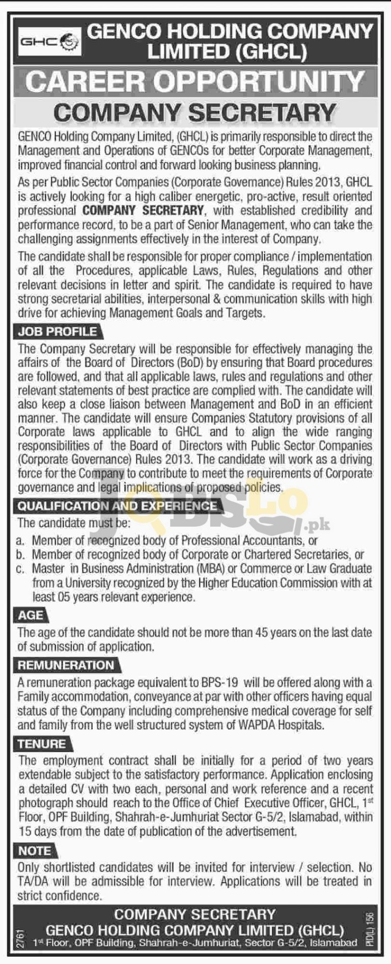 GHCL GENCO Holding Company Pakistan Jobs 2016 Employment Offers