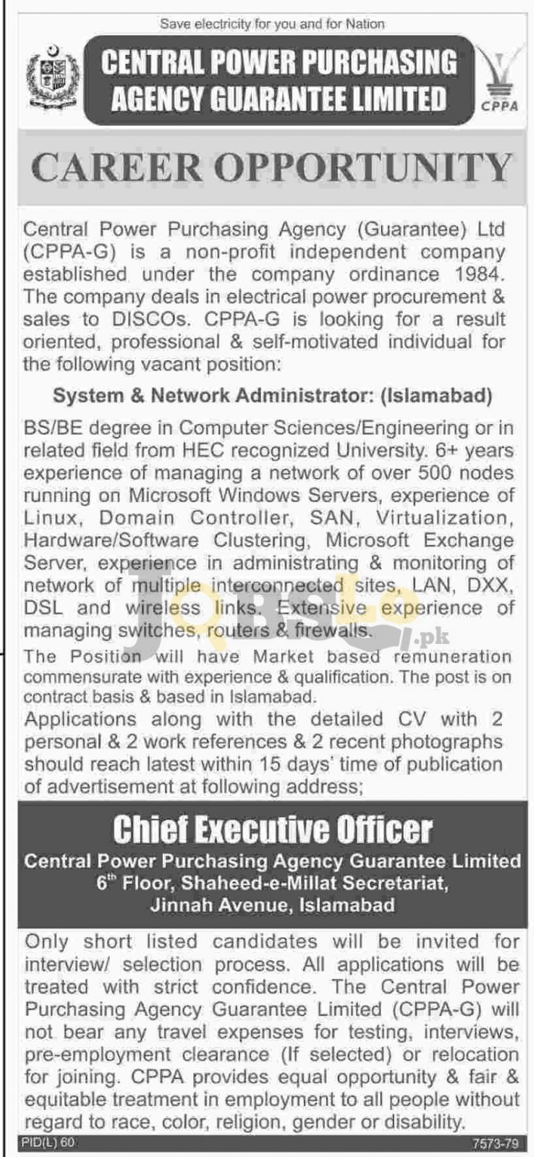Central Power Purchasing Agency Islamabad Jobs 2016 Employment Offers