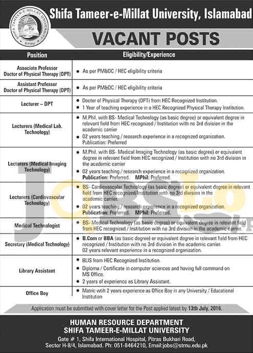 Shifa Tameer-e-Millat University Islamabad Jobs