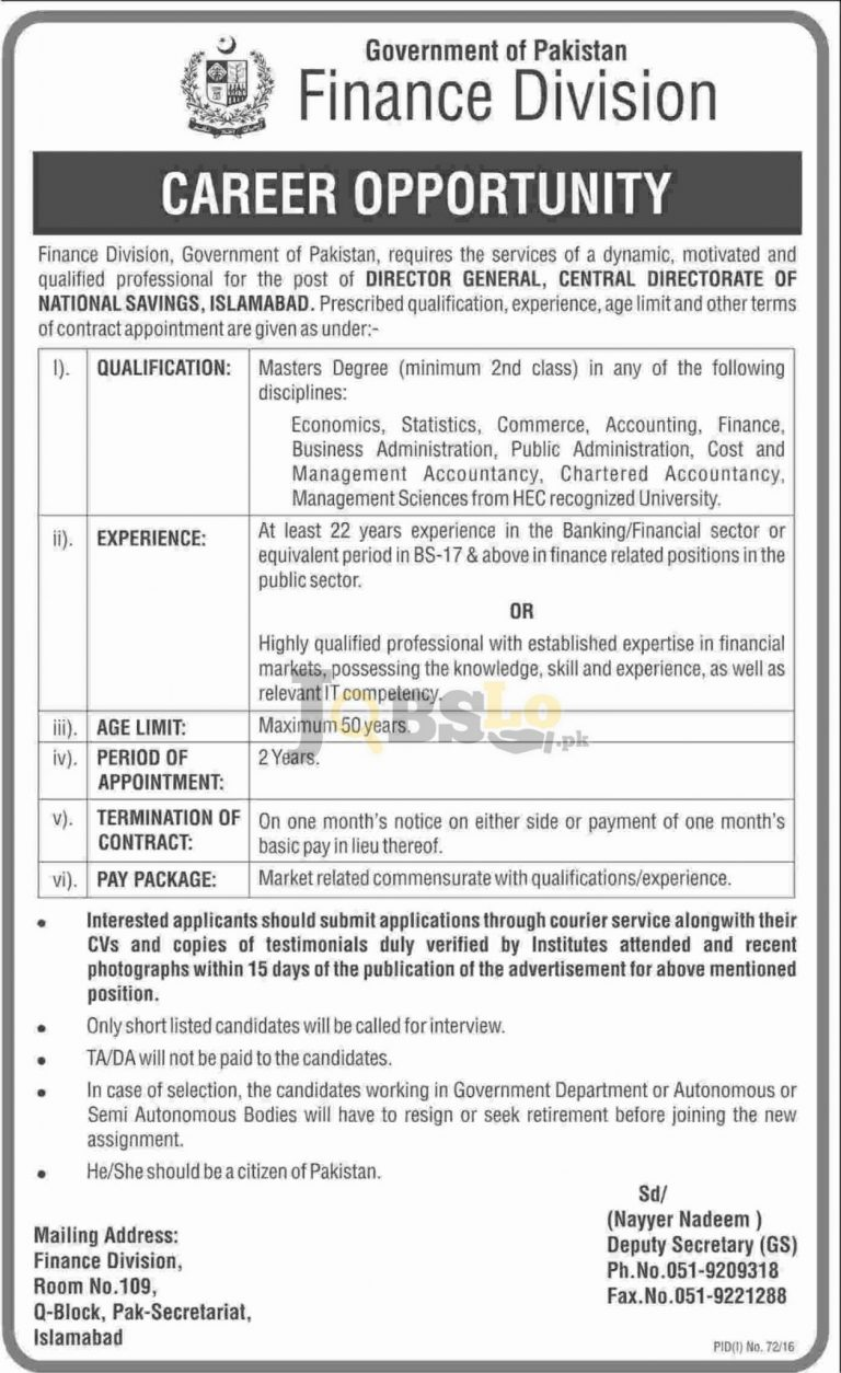 Finance Division Jobs in Islamabad 2016 Latest Current Vacancies