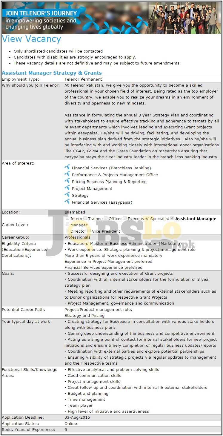 Telenor Jobs 2016 in Islamabad Latest Current Opportunities