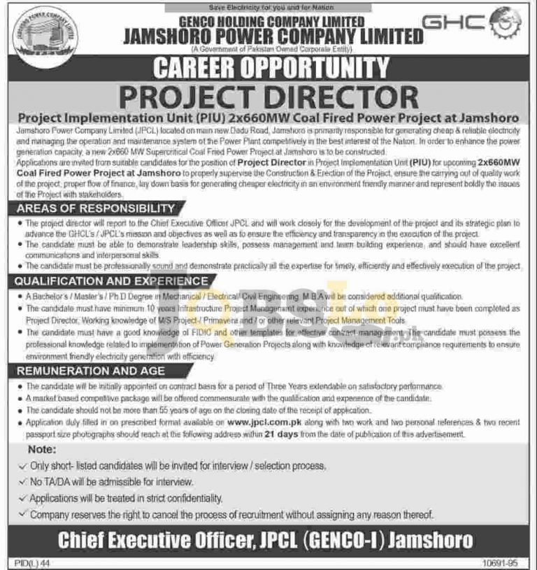 Project Director Jobs 2016 in JPCL Latest Add Online Form Download