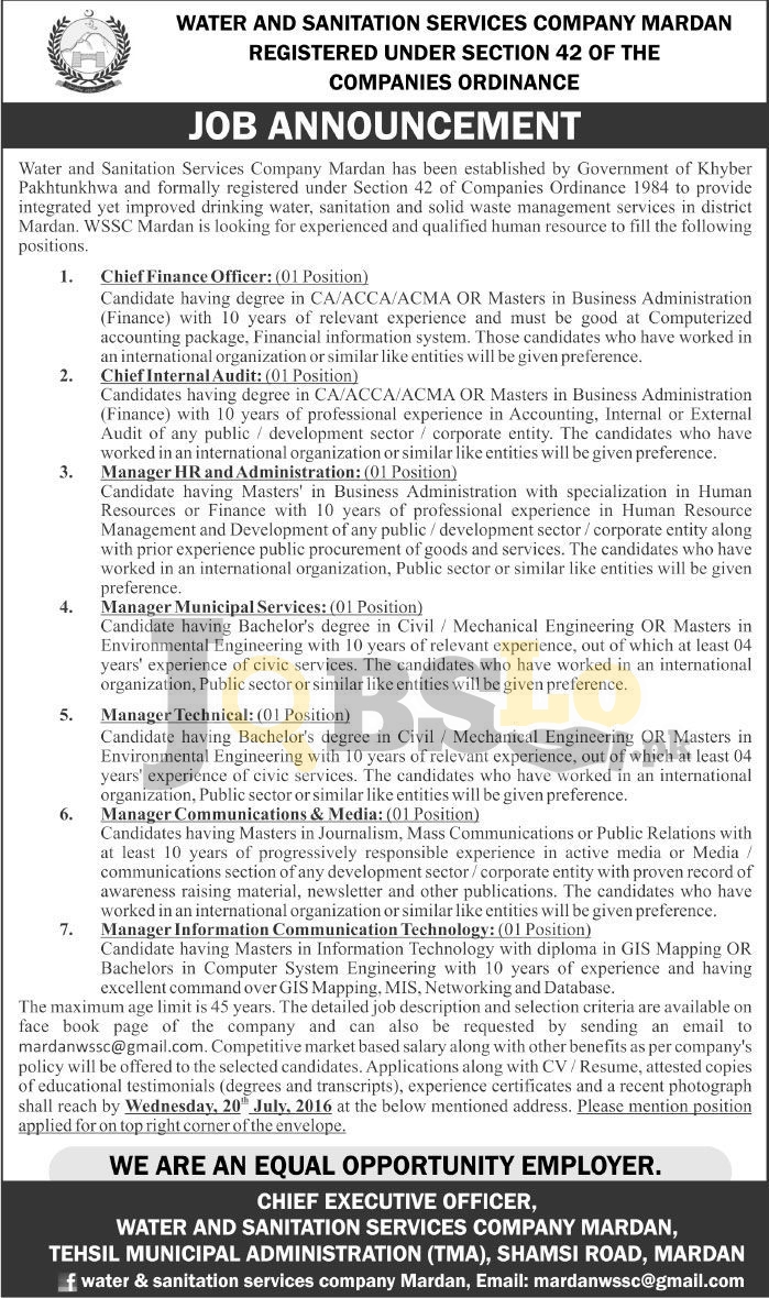 Water & Sanitation Services Mardan Jobs 2016 For Chief Financial Officer Eligibility Criteria