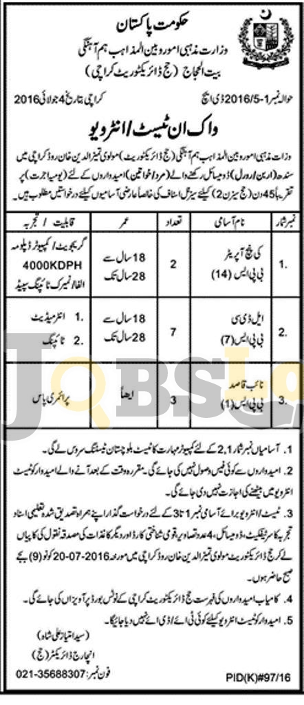 Ministry of Religious Affairs & Interfaith Harmony Karachi Jobs